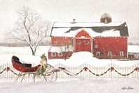 Christmas Barn with Sleigh Fine Art Print