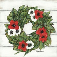 Magnolia Winter Wreath Fine Art Print