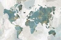 Teal World Map Fine Art Print