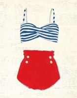 Retro Swimwear IV Newsprint Fine Art Print