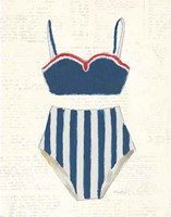 Retro Swimwear III Newsprint Fine Art Print