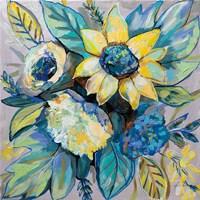 Sage and Sunflowers I Framed Print