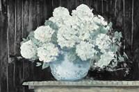 White Hydrangea on Black Crop Fine Art Print