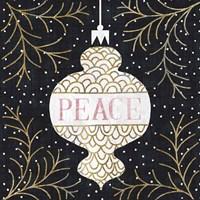 Jolly Holiday Ornaments Peace Metallic Fine Art Print