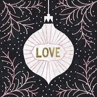 Jolly Holiday Ornaments Love Metallic Fine Art Print