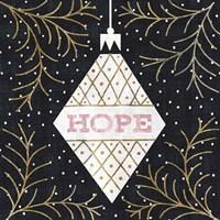 Jolly Holiday Ornaments Hope Metallic Fine Art Print