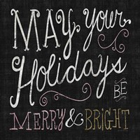 Quirky Christmas Merry and Bright Metallic Fine Art Print