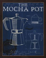Coffee Blueprint II Indigo Fine Art Print