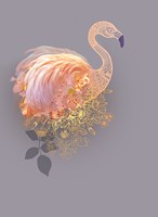 Floral Gold Flamingo Fine Art Print