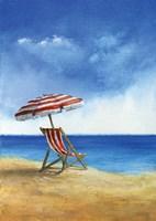 Deck Chairs on Beach II Fine Art Print