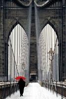 Brooklyn Bridge Meets Red Fine Art Print