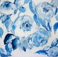 Blue and White Peonies Fine Art Print