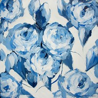 Blue and White Roses Fine Art Print