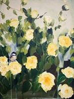 Bird on Roses Fine Art Print