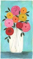 Bright Flowers - Teal Background I Fine Art Print