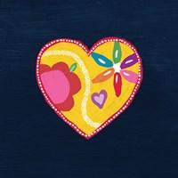 Navy Painted Heart Fine Art Print