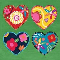 Multi Painted Hearts Fine Art Print