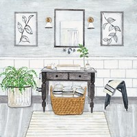 Upstate Farmhouse Bath I Fine Art Print