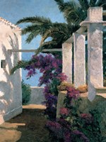 Bougainvillea & Palm Trees Fine Art Print