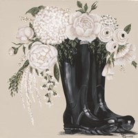 Flowers and Black Boots Fine Art Print