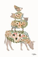 Floral Stacked Animals Fine Art Print