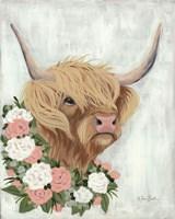 Floral Highlander Cow Fine Art Print