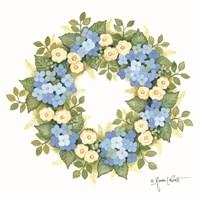 Hydrangeas in Bloom Wreath Fine Art Print