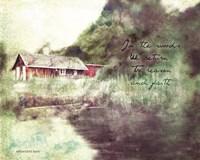 Red Cabin Forest Faith Fine Art Print