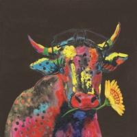 Cow in Dark Gary Fine Art Print