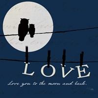 Moon Love I Indigo Fine Art Print