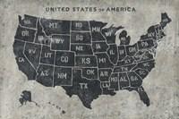 Grunge USA Map Fine Art Print