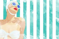 Bathing Beauty on Teal Towel Fine Art Print