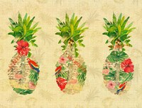 Triple Tropical Pineapple Collage Fine Art Print