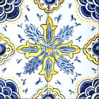 Yellow and Blue Spanish Tile II Fine Art Print