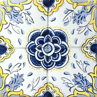 Yellow and Blue Spanish Tile I Fine Art Print