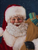 Jolly Saint Nick with Starry Night Fine Art Print