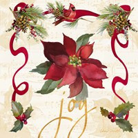 Christmas Poinsettia Ribbon IV Fine Art Print