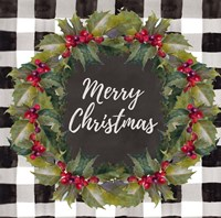 Buffalo Plaid Christmas Wreath Fine Art Print