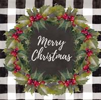 Buffalo Plaid Christmas Wreath Fine Art Print