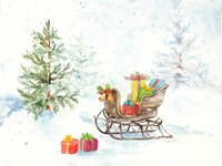 Presents in Sleigh on Snowy Day Fine Art Print