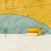 Teal and Yellow Barn Fine Art Print