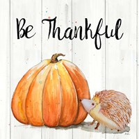 Be Thankful Harvest Hedgehog I Fine Art Print