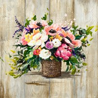 Basket with Flowers Fine Art Print