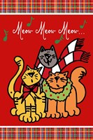 Christmas Cat Jingles on Red Plaid Fine Art Print