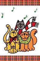 Christmas Cat Jingles on Plaid Fine Art Print