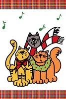 Christmas Cat Jingles on Plaid Fine Art Print