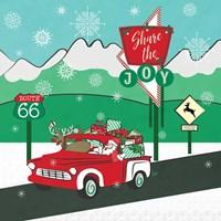 Retro Santa Driving I Fine Art Print