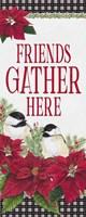 Chickadee Christmas Red - Friends Gather vertical Fine Art Print