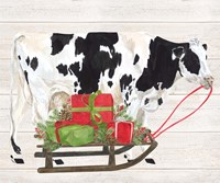 Christmas on the Farm I Cow with Sled Fine Art Print