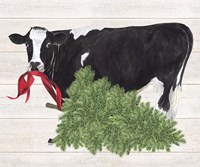 Christmas on the Farm II Cow with Tree Fine Art Print